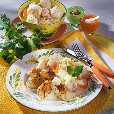 Kartoffel-Kräuter-Nocken zu Blumenkohl Rezept
