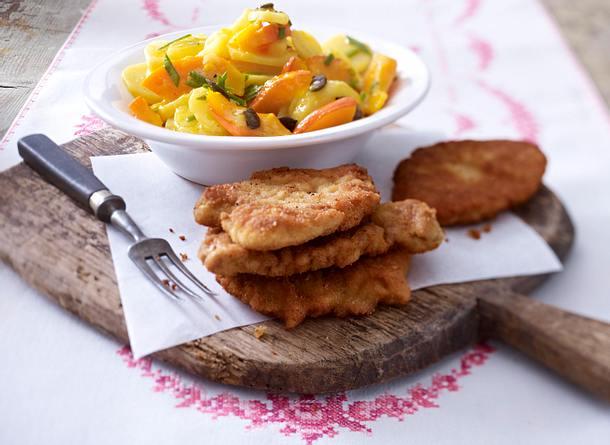 Kartoffel-Kürbis-Salat mit kleinen Schnitzeln Rezept