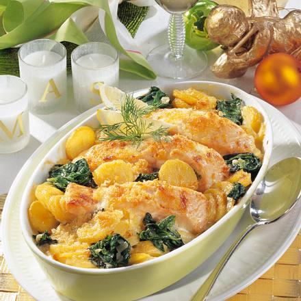 Kartoffel-Lachs-Gratin mit Spinat Rezept