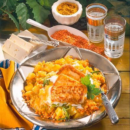 Kartoffel-Linsen-Curry mit Schafskäse Rezept