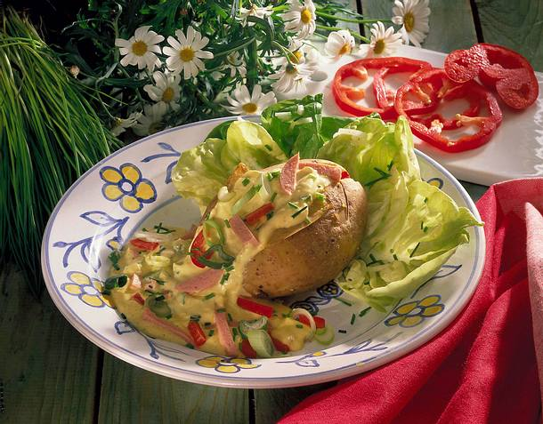 Kartoffel mit Curry-Fleischsalat Rezept