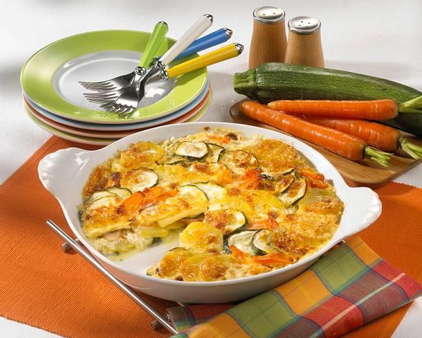 Kartoffel-Möhren-Zucchini-Gratin Rezept