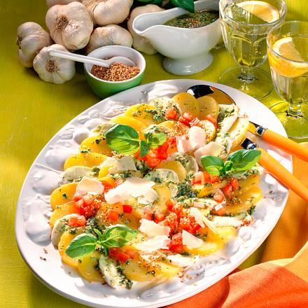 Kartoffel-Mozzarella-Carpaccio mit Pestovinaigrette Rezept