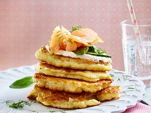 Kartoffel-Pancakes mit Ricotta und Räucherlachs Rezept