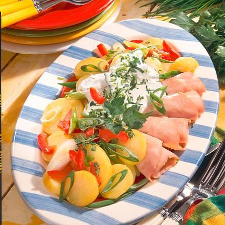 Kartoffel-Paprika-Salat mit gekochtem Schinken Rezept