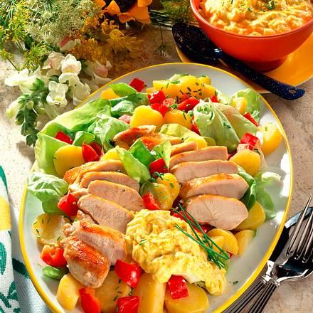 Kartoffel-Paprikasalat mit Hähnchen Rezept