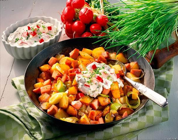 Kartoffel-Pfanne mit Frühlingsquark Rezept