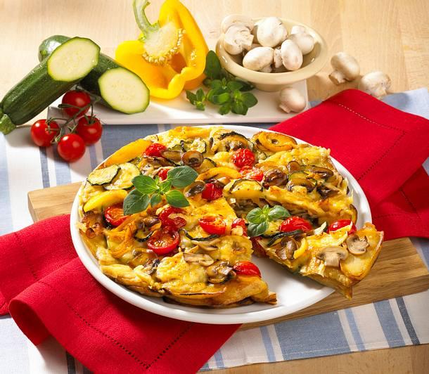 Kartoffel-Pfannen-Pizza mit Käsekruste Rezept