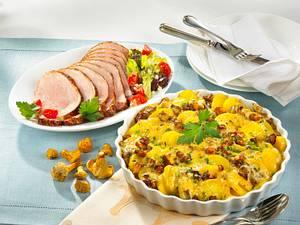 Kartoffel-Pfifferling-Gratin mit Kasseler Rezept