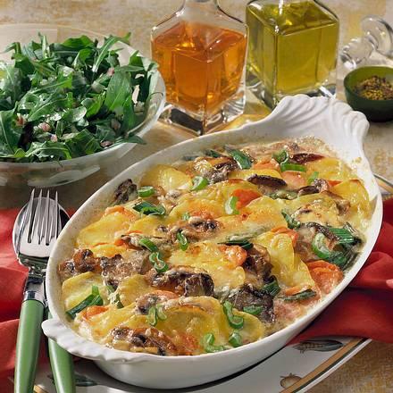 Kartoffel-Pilz-Möhren-Gratin Rezept