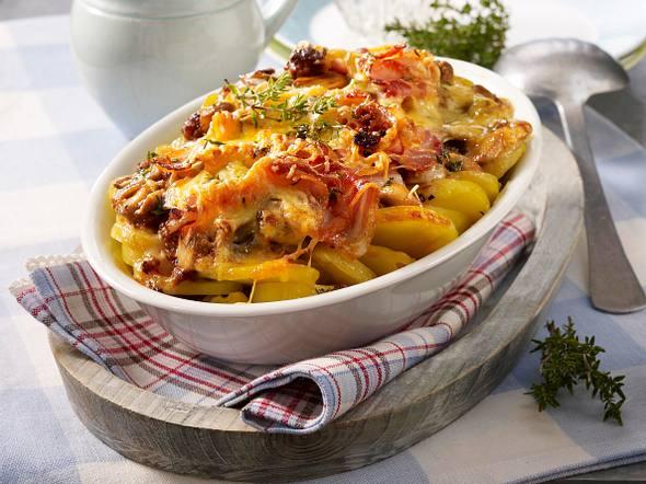 Kartoffel-Pilz-Ragout mit Thymian-Speck-Kruste Rezept