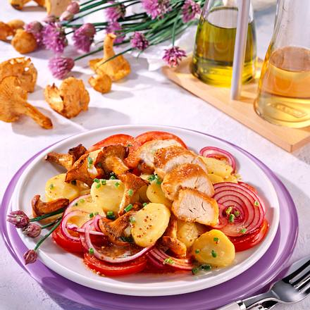 Kartoffel-Pilzsalat zu Hähnchenfilet (Diabetiker) Rezept