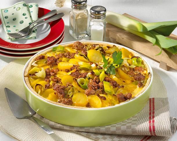 Kartoffel-Porree-Hackkuchen Rezept