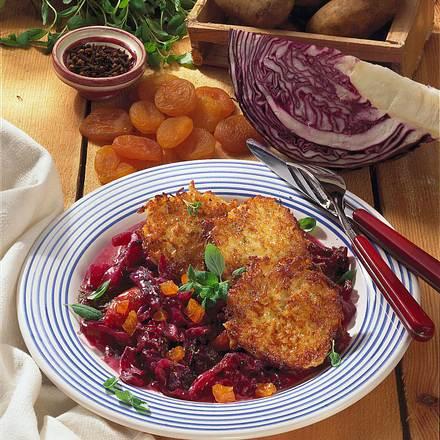Kartoffel-Quark-Puffer mit Rotkohl Rezept