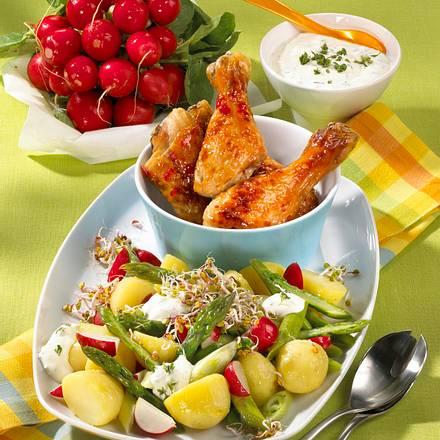 Kartoffel-Radieschen-Salat mit Hähnchenkeulen Rezept