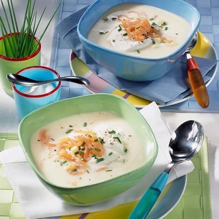 Kartoffel-Sellerie-Suppe mit Lachs Rezept