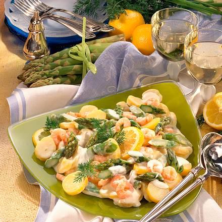 Kartoffel-Spargel-Salat mit Shrimps Rezept
