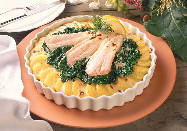 Kartoffel-Spinat-Auflauf mit Lachs Rezept