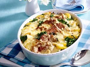 Kartoffel-Spinat-Auflauf mit Schweinefilet Rezept