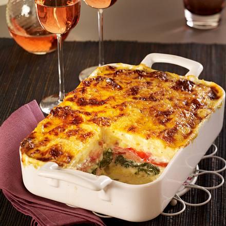 Kartoffel-Spinat-Lasagne mit Schinken Rezept