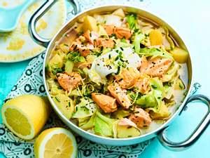 Kartoffel-Stew mit Spitzkohl und Lachs Rezept