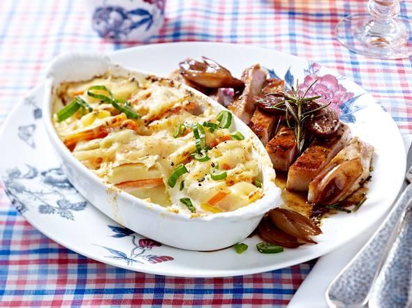 Kartoffel-Ziegenkäse-Gratin zu Kotelett in Lavendelhonig Rezept