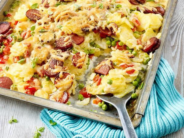 Kartoffelauflauf mit Kabanossi Rezept