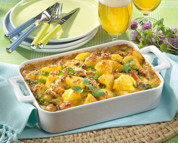 Kartoffelauflauf mit Kasseler und Champignons Rezept