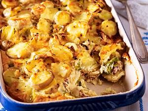Kartoffelgratin mit Lauch und Speck Rezept