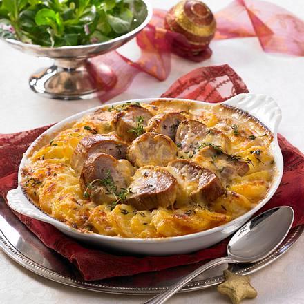 Kartoffelgratin mit Schweinefilet in Calvados-Rahm Rezept