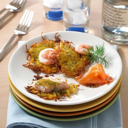 Kartoffelküchlein mit Fisch-Variationen Rezept