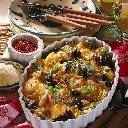 Kartoffeln-Bohnen-Chinakohl-Gratin Rezept