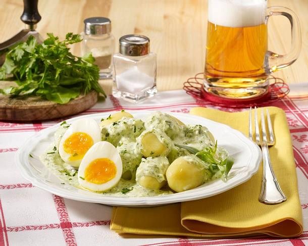 Kartoffeln mit grüner Soße und Eiern Rezept