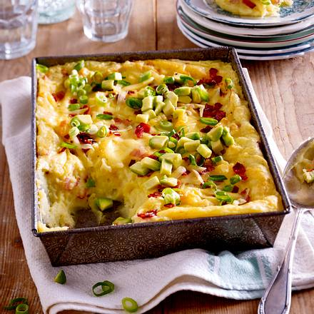 Kartoffelpüree-Auflauf mit Speck und Käse Rezept