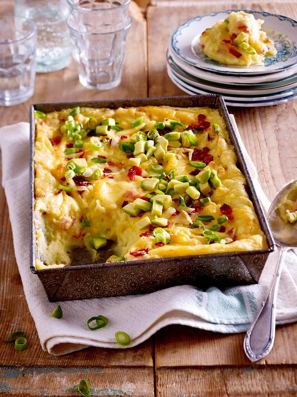 Kartoffelpüree-Auflauf mit Speck und Käse