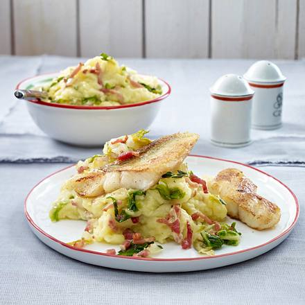 Kartoffelpüree mit Romanasalat-Streifen zu gebratenem Zander Rezept