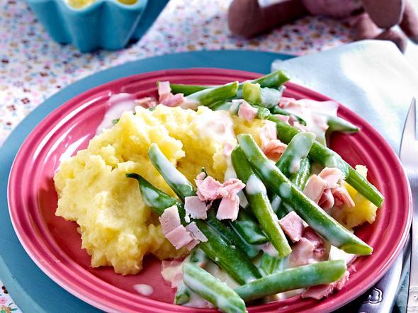 Kartoffelpüree mit Schinken-Bohnen-Soße Rezept