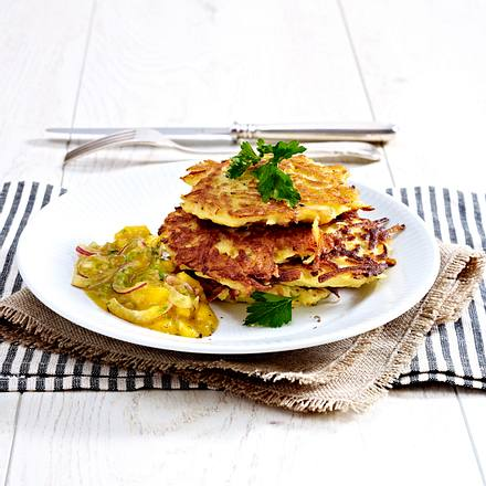 Kartoffelpuffer mit selbstgemachtem Mangochutney Rezept