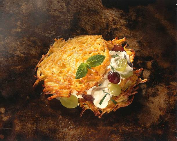 Kartoffelpuffer mit Trauben-Quark Rezept