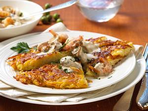 Kartoffelrösti mit Garnelen-Ragout Rezept