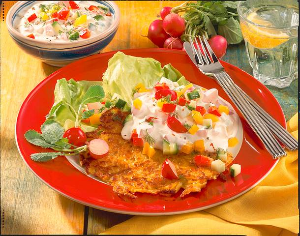 Kartoffelrösti mit Gemüsequark Rezept