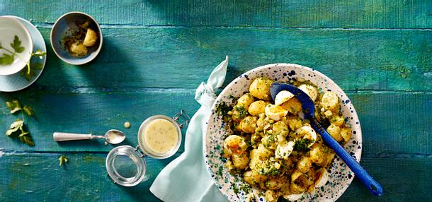 Kartoffelsalat mit Ei und Senf-Honig-Vinaigrette Rezept