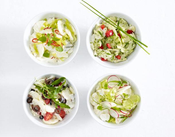 Kartoffelsalat mit Paprika, Zucchini, Schnittlauch und Pesto Rezept