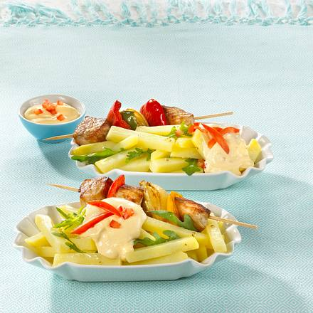 Kartoffelsalat mit Schaschlik Rezept