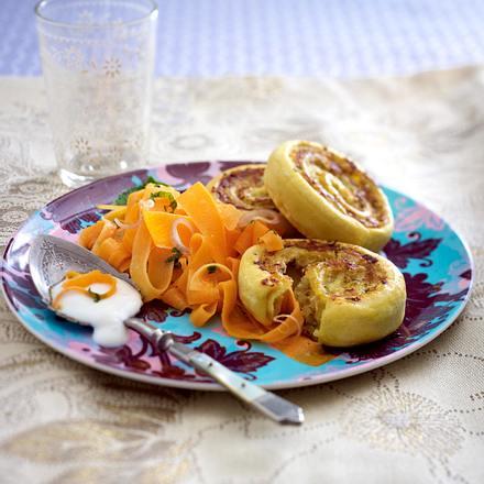 Kartoffelschnecken mit Möhrensalat Rezept