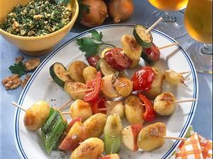 Kartoffelspieße mit Petersilienpesto und Curry-Dip Rezept