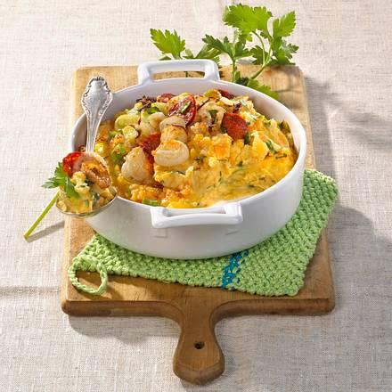 Kartoffelsteckrüben-Püreeauflauf mit Salami Rezept