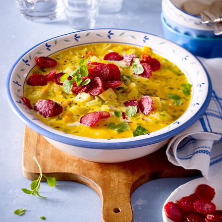 Kartoffelsuppe mit Ahler Wurscht Rezept