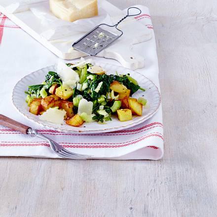 Kartoffelwürfel mit grünem Gemüse Rezept