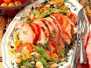 Kasseler auf Bohnen-Tomatengemüse Rezept